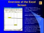 overview of the excel screen2