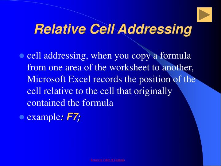 Relative Cell Addressing