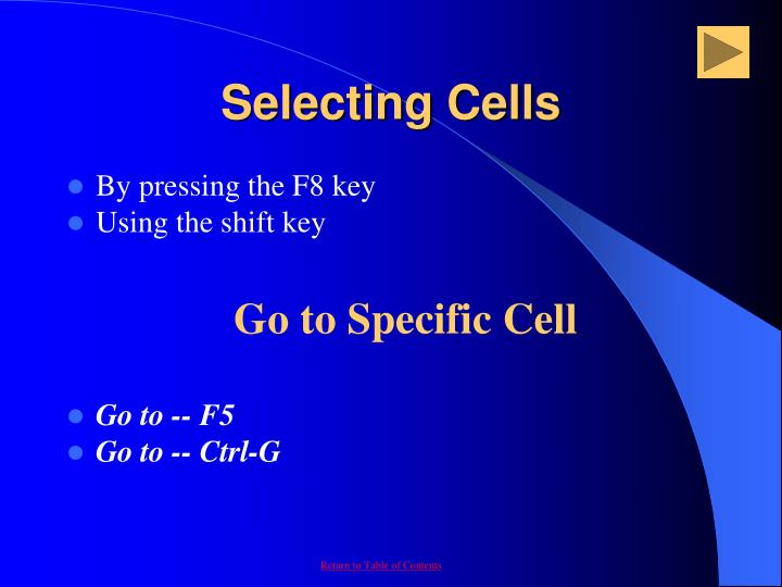 Selecting Cells