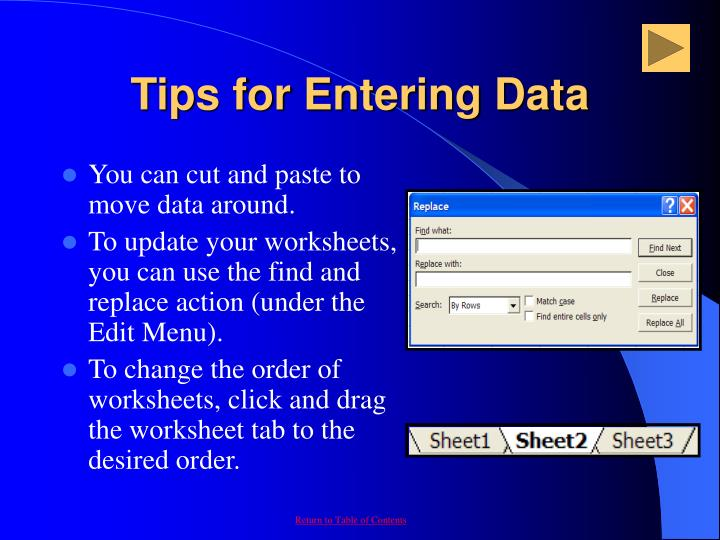 Tips for Entering Data