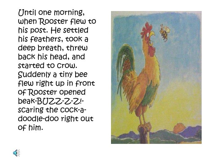Until one morning, when Rooster flew to his post. He settled his feathers, took a deep breath, threw back his head, and started to crow. Suddenly a tiny bee flew right up in front of Rooster opened beak-BUZZ-Z-Z!- scaring the cock-a-doodle-doo right out of him.