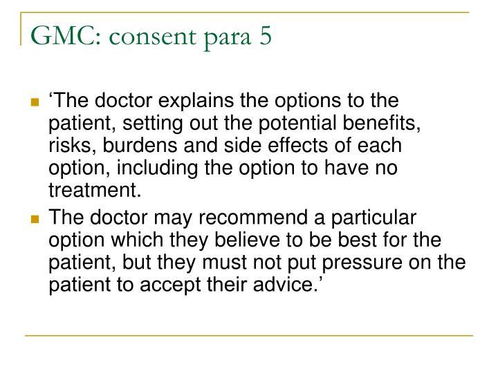 GMC: consent para 5