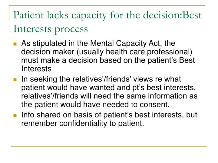 Patient lacks capacity for the decision:Best Interests process