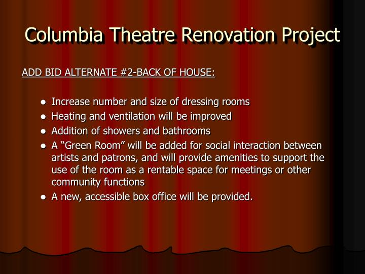 Columbia Theatre Renovation Project