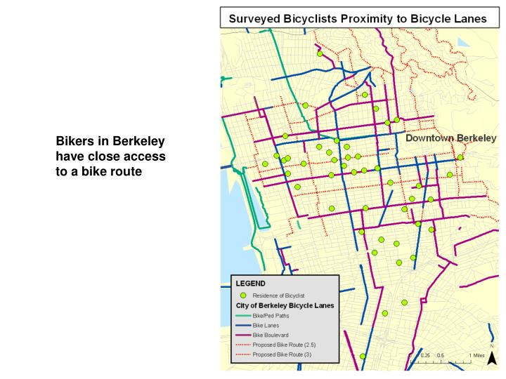Bikers in Berkeley have close access to a bike route