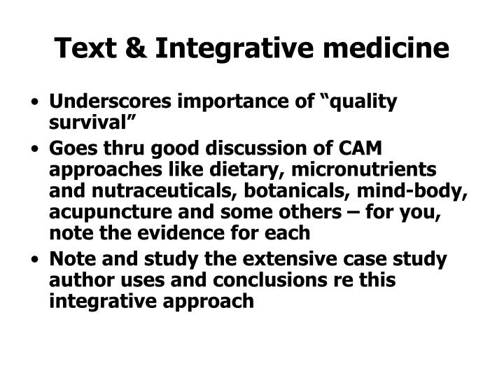 Text & Integrative medicine
