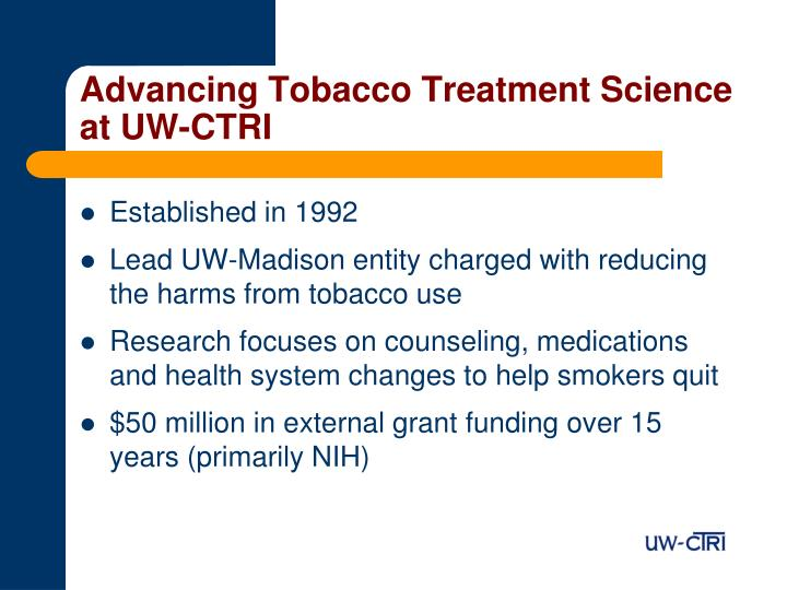 Advancing Tobacco Treatment Science at UW-CTRI