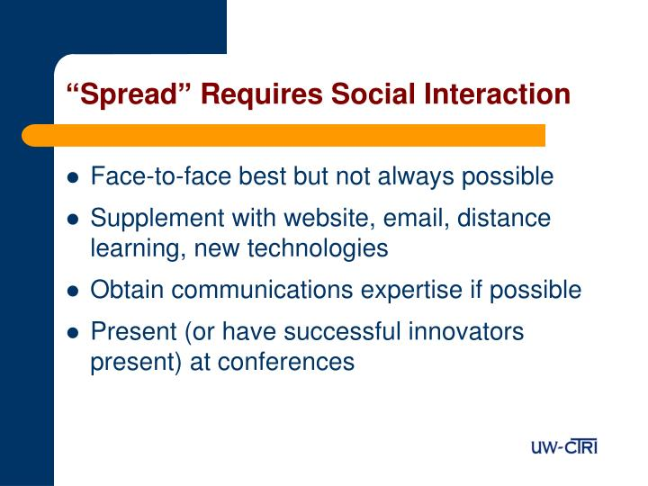 """""""Spread"""" Requires Social Interaction"""