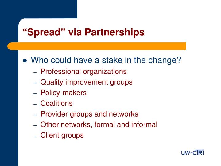 """Spread"" via Partnerships"