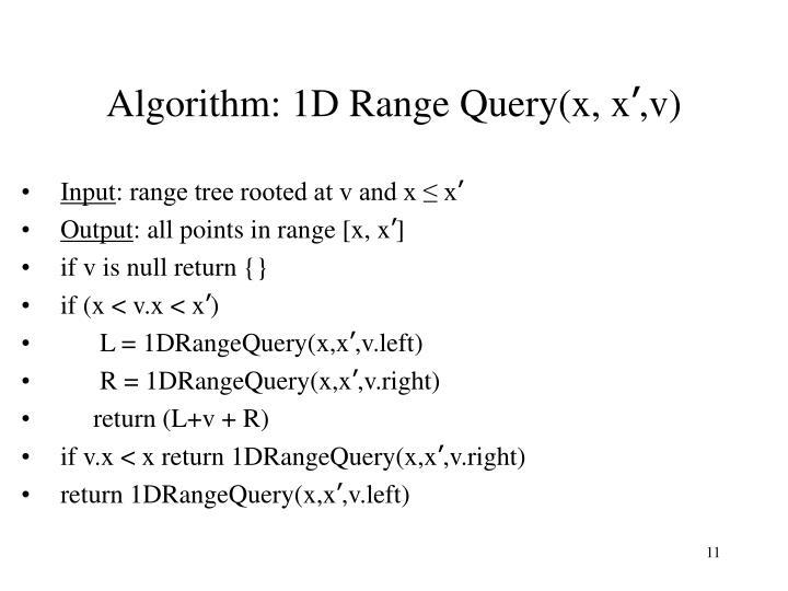 Algorithm: 1D Range Query(x, x