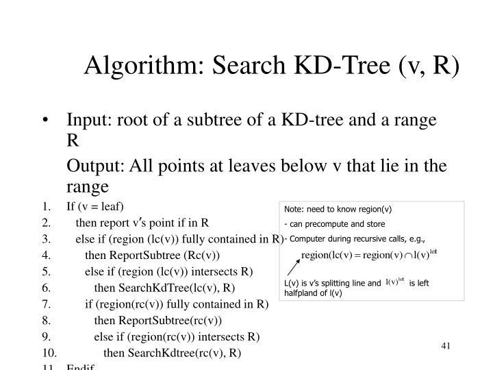 Algorithm: Search KD-Tree (v, R)