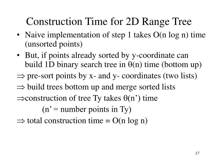 Construction Time for 2D Range Tree