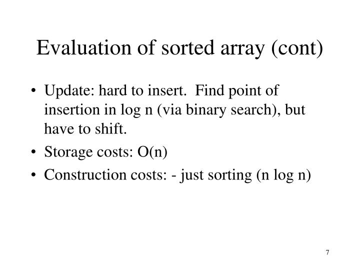 Evaluation of sorted array (cont)