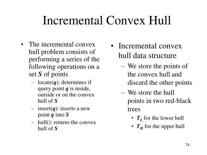 The incremental convex hull problem consists of performing a series of the following operations on a set