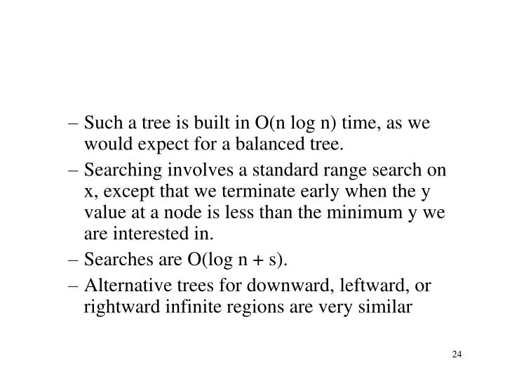 Such a tree is built in O(n log n) time, as we would expect for a balanced tree.