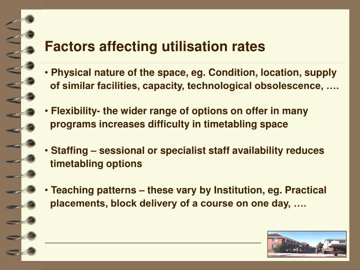 Factors affecting utilisation rates