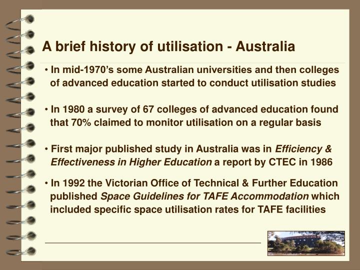 A brief history of utilisation - Australia