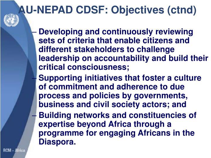 AU-NEPAD CDSF: Objectives (ctnd)