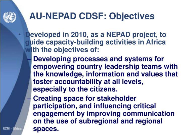 AU-NEPAD CDSF: Objectives