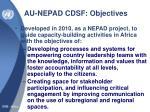 au nepad cdsf objectives