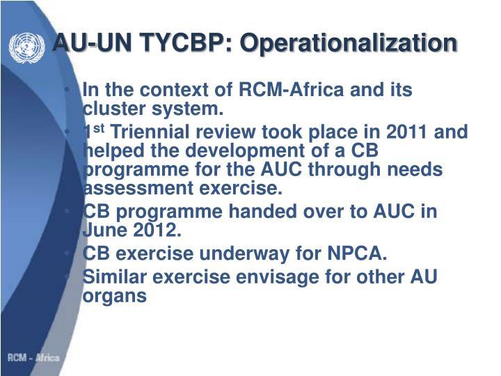 AU-UN TYCBP: Operationalization