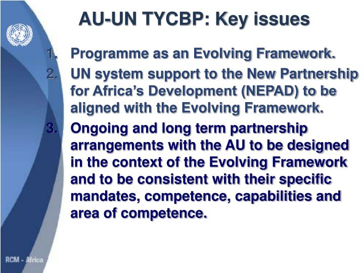AU-UN TYCBP: Key issues