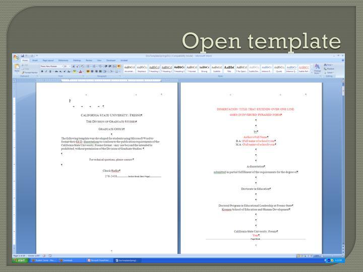 Open template