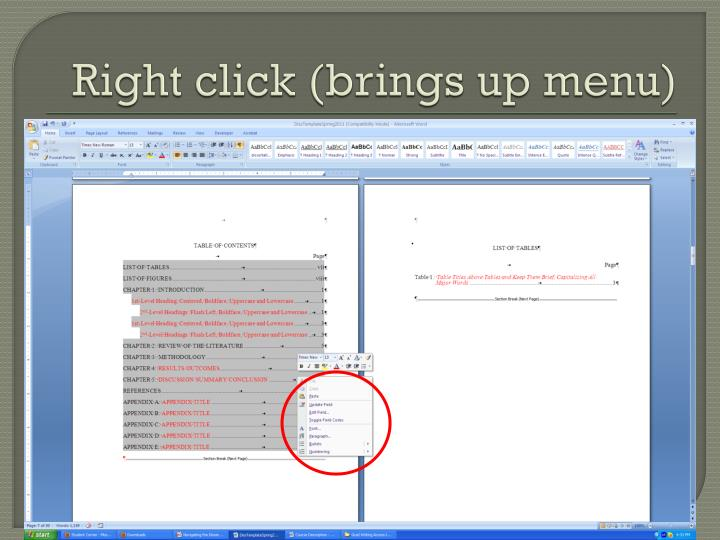 Right click (brings up menu)