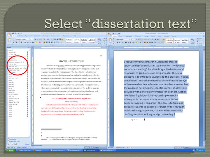 "Select ""dissertation text"""