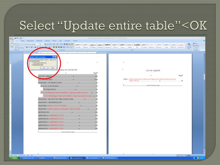 "Select ""Update entire table""<OK"