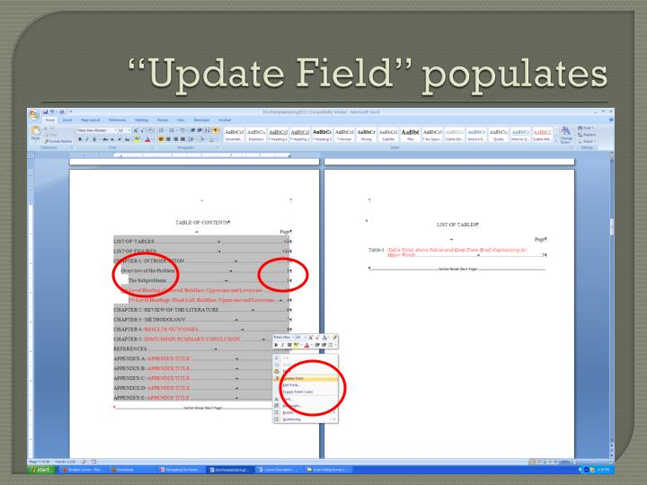 """Update Field"" populates"