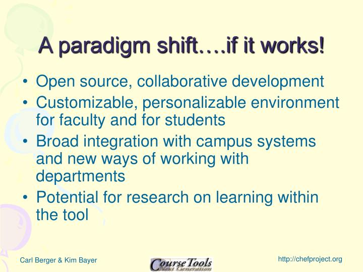 A paradigm shift….if it works!