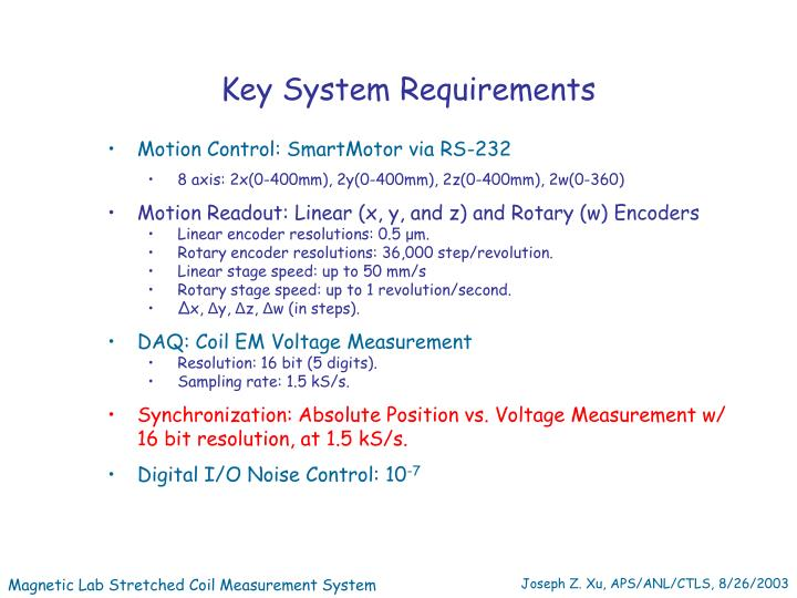 Key System Requirements