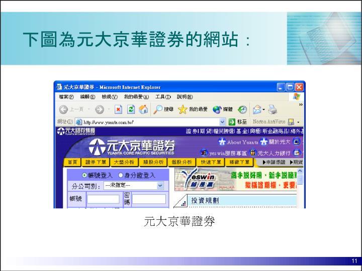 下圖為元大京華證券的網站: