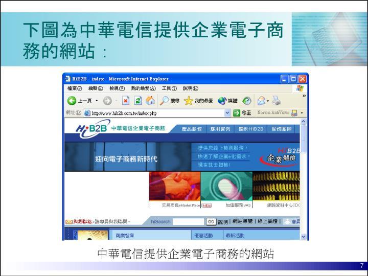 下圖為中華電信提供企業電子商務的網站: