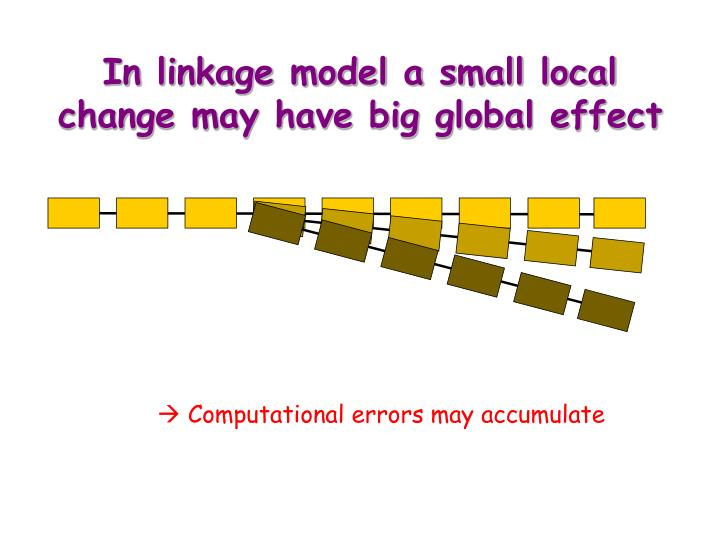 In linkage model a small local change may have big global effect