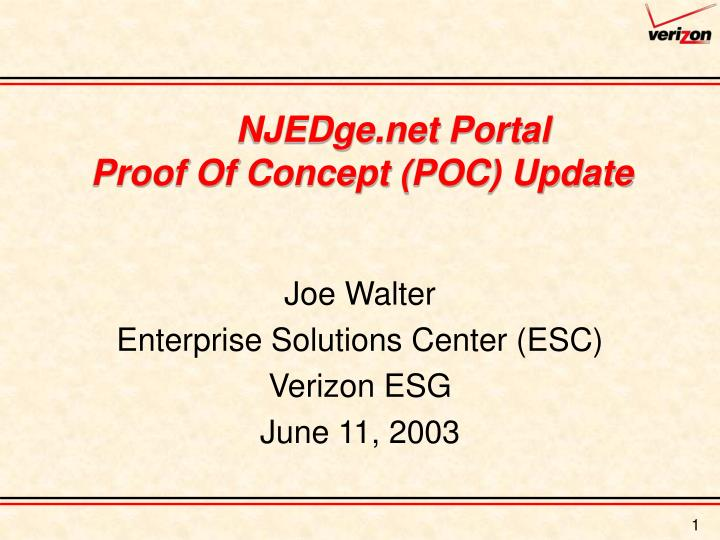 Njedge net portal proof of concept poc update