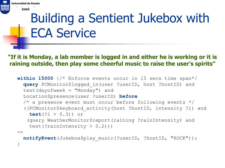 Building a Sentient Jukebox with ECA Service