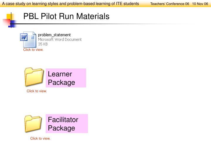 PBL Pilot Run Materials