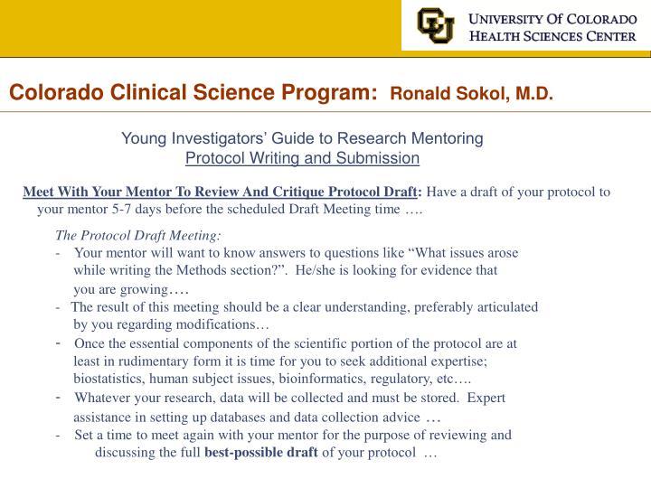 Colorado Clinical Science Program: