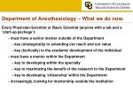 department of anesthesiology what we do now