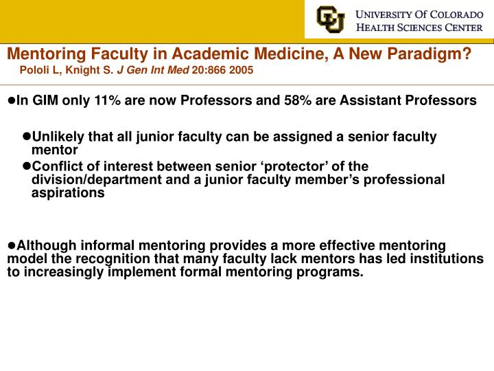 Mentoring Faculty in Academic Medicine, A New Paradigm?