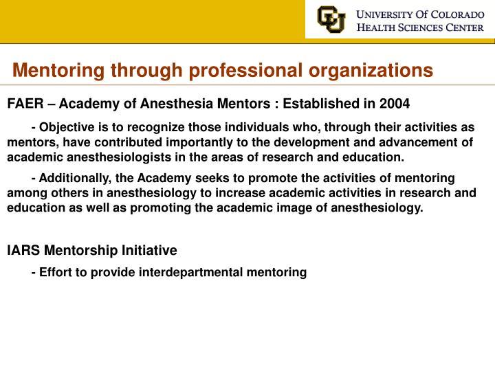 Mentoring through professional organizations