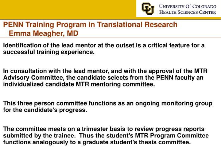 PENN Training Program in Translational Research