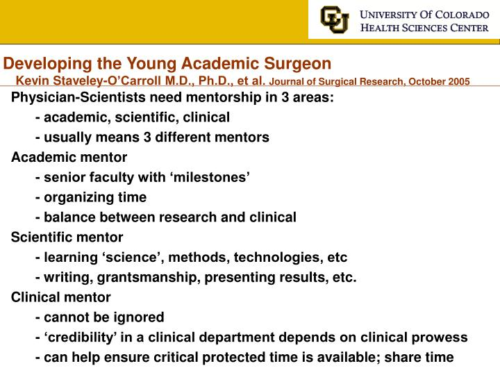 Developing the Young Academic Surgeon