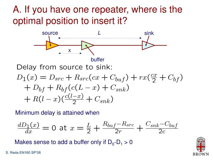 A. If you have one repeater, where is the optimal position to insert it?