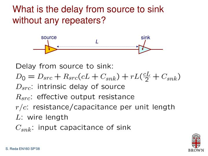 What is the delay from source to sink without any repeaters?