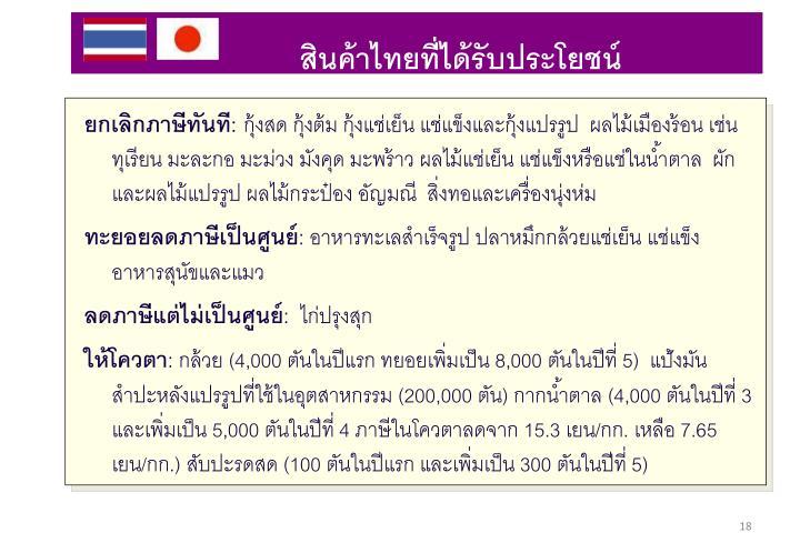 สินค้าไทยที่ได้รับประโยชน์