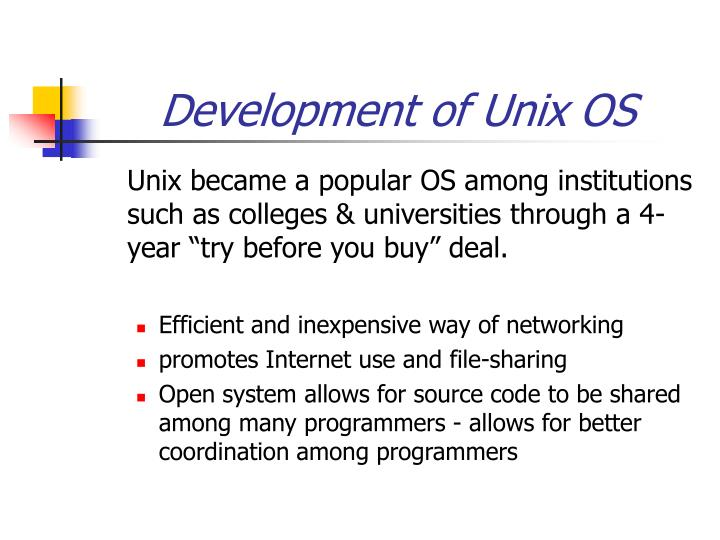 Development of Unix OS