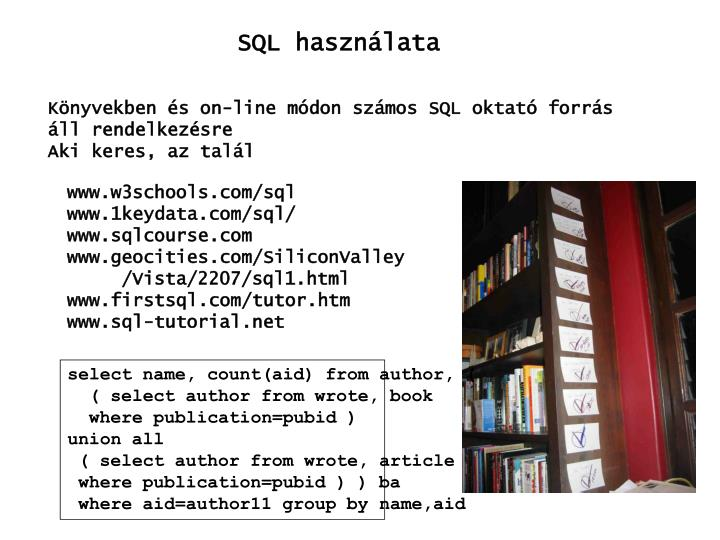 SQL használata